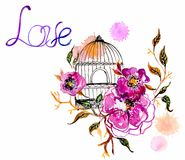 Watercolor flower card Royalty Free Stock Photos