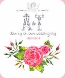 Watercolor flower card Stock Photography
