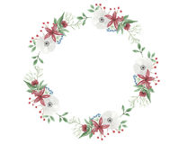 Watercolor Flower Christmas Wreath Garland Festive Arrangement Jolly Floral Hand Painted Holidays Bouquet. Hand-painted Festive watercolor clip art high quality Stock Images