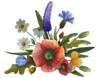 Watercolor flower composition vector illustration