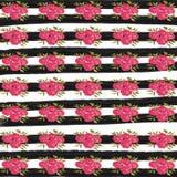 Watercolor Flower Digital Paper, Pink flower background, Black stripes stock illustration