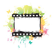 Watercolor flower film strip Stock Photo