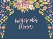 Watercolor flower frame on blue, floral framework royalty free illustration