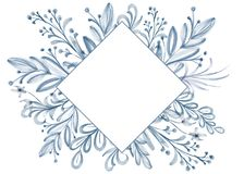 Watercolor Flower frame Leaf summer Isolated on white background for greeting cards for the wedding, St. Valentine`s Day.  stock illustration