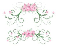 Watercolor flower frames stock image