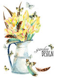 Watercolor flower garden card Royalty Free Stock Photo