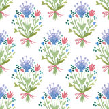 Watercolor flower nature pattern. Watercolor sketch summer flower pattern. Vector trace vintage nature seamless background Stock Photos