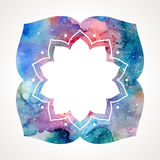 Watercolor flower oriental frame vector Royalty Free Stock Photos