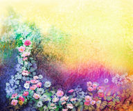 Watercolor flower painting. Hand painted White, Yellow and Red Ivy flowers. In soft blue green, yellow color and grunge texture background. Spring flower Stock Images