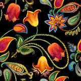 Watercolor flower paisley pattern. Seamless Indian motif background. Stock Photo