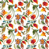 Watercolor flower paisley pattern. Seamless Indian motif background. Stock Image