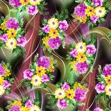 Watercolor flower pattern digital background royalty free illustration