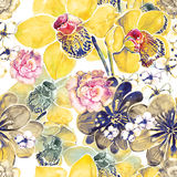Watercolor Flower Pattern. Flower Garden with Yellow Orchids, Caramel and lemon floral watercolor pattern design Stock Photography