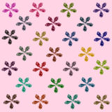 Watercolor, flower pattern on pink background Royalty Free Stock Images