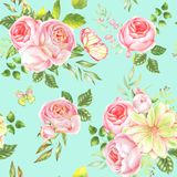 Watercolor Flower Pattern stock illustration