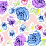Watercolor flower pattern royalty free illustration