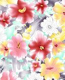 Watercolor flower pattern on white. Pink and yellow WATERCOLOR FLOWER PATTERN on white royalty free illustration