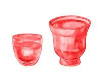 Watercolor flower pot, vase Royalty Free Stock Image