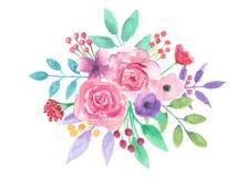 Watercolor Flower Pretty Arrangement Pink Floral Hand Painted Bouquet. Hand-painted watercolor clip art high quality floral Arrangement stock illustration