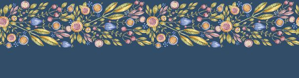 Watercolor flower repeat banner isolated on blue. Watercolor flower repeat wide banner isolated on blue background. Aquarelle floral seamless poster, hand royalty free illustration