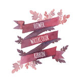 Watercolor flower ribbon. Vector Royalty Free Stock Photos