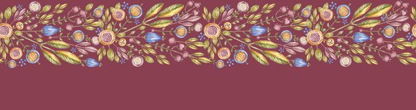Watercolor flower seamless banner isolated on red. Background. Aquarelle floral endless poster, hand painted. Handpainted wildflower billboard royalty free illustration