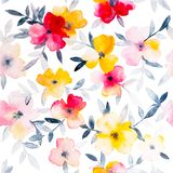 Watercolor floral hand drawn colorful bright seamless pattern stock illustration