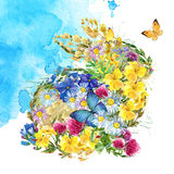 Watercolor flower. Summer flowers watercolor background. Stock Image