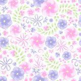 Watercolor flower trendy pattern. Summer floral with violets and vector illustration