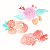 Watercolor Flower Vector. Round Watercolor Flowers. Abstract Flo Stock Images