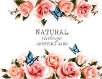 Watercolor flower vintage background with beautiful roses Royalty Free Stock Photo