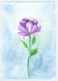 Watercolor flower violet  elegant and soft. Flower long stem lilac beautiful single bloom soft and pretty Royalty Free Stock Images