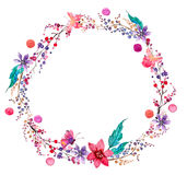 Watercolor flower wreath background stock illustration