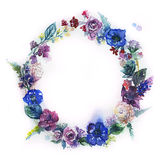 Watercolor Flower Wreath. Royalty Free Stock Images