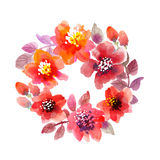 Watercolor flower wreath. Royalty Free Stock Photos