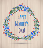 Watercolor Flower Wreath Happy Mother's Day Card! Royalty Free Stock Photography