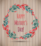 Watercolor Flower Wreath Happy Mother's Day Card! Stock Images