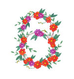 Watercolor flower wreath. Stock Photography