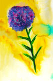 Watercolor flower on yellow background Royalty Free Stock Photos