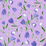 Watercolor flowers. On a lilac background. Seamless pattern vector illustration
