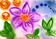 Watercolor flowers. Watercolor painting of  flowers on a blue background Stock Photo