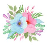 Watercolor flowers arrangement royalty free illustration