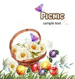 Watercolor flowers basket Vector. Summer picnic concepts Vector Illustration