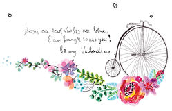 Watercolor flowers with bicycle Stock Photos