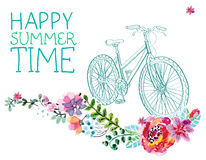 Watercolor flowers and bicycle Stock Photo