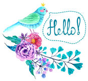 Watercolor flowers and bird background Stock Photo