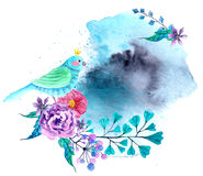 Watercolor flowers and bird background Stock Image