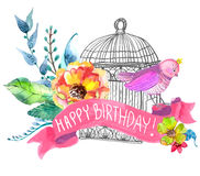 Watercolor flowers and bird cage Stock Images