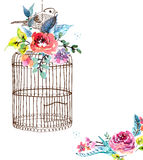 Watercolor flowers and bird cage Stock Photos