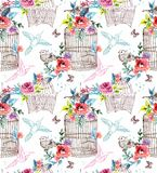 Watercolor flowers and bird cage. Seamless pattern Stock Photo